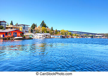 Lake Washington. Boat houses - Lake Washington with boat...
