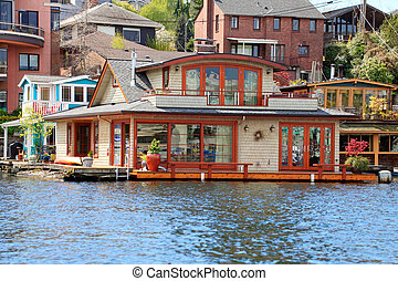 Brick boat house. Lake Washington - Beatiful brick boat...