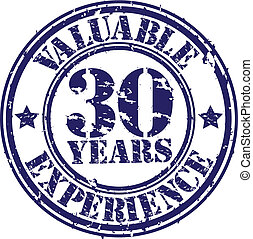 Valuable 30 years of experience rubber stamp, vector...