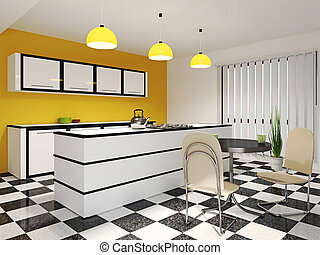 Kitchen with furniture - Kitchen with a table and chairs
