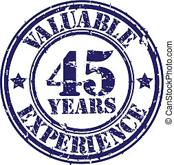 Valuable 45 years of experience rubber stamp, vector...