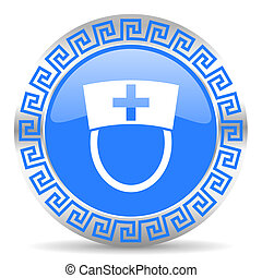 nurse icon - blue circle web button