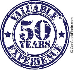 Valuable 50 years of experience rubber stamp, vector...
