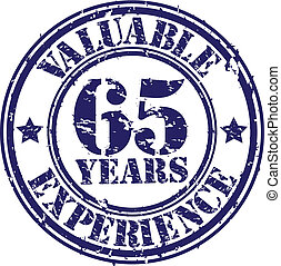Valuable 65 years of experience rubber stamp, vector...