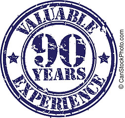 Valuable 90 years of experience rubber stamp, vector...