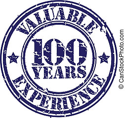 Valuable 100 years of experience rubber stamp, vector...