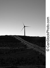 Wind farm in Croatia at dusk black and white