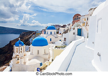 Oia Santorini Greece Europe - Blue domed church at Oia...