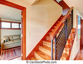 Hallway with wooden stairs - Ivory hallway with hardwood...