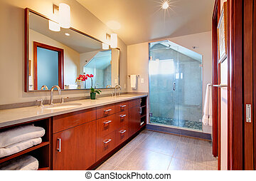 Bathroom with glass door shower - Bright bathroom with...