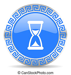 time icon - blue circle web button