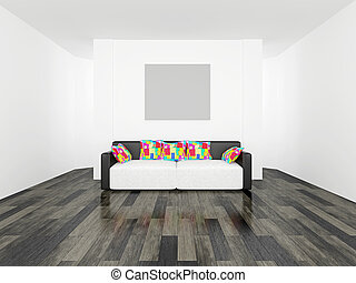 Sofa with cushions - Leather sofa with colored cushions