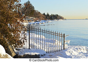 Oakville Shoreline - Early morning view of shoreline in...