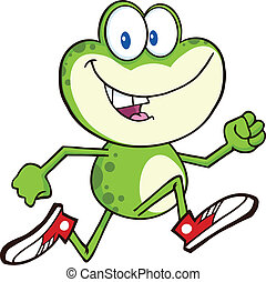 Green Frog Running With Sneakers - Cute Green Frog Cartoon...