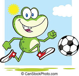 Green Frog Playing With Soccer Ball - Cute Green Frog...