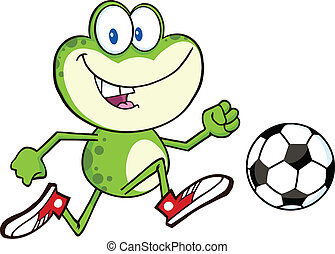 Cute Green Frog With Soccer Ball - Cute Green Frog Cartoon...