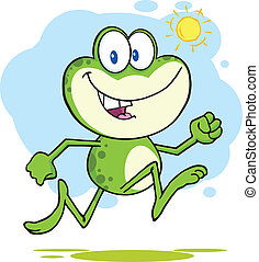 Cute Green Frog Running Outdoor