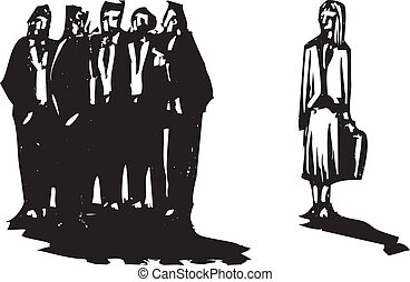 Woman Ignored - Crowd of men in business suits excluding a...