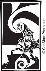 Norse God Thor - Woodcut style image of the Viking God Thor...