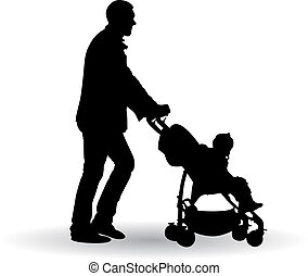 father pushing a pram with a baby vector illustration