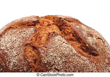 Fresh dark bread on white background