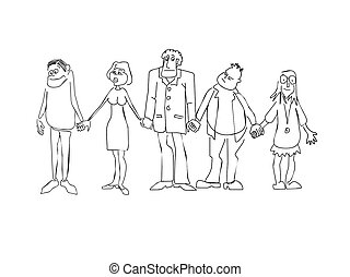 men-emosion_026 - Group of the various people incorporated...