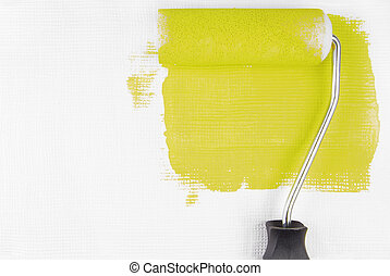 paint wall with paint roller
