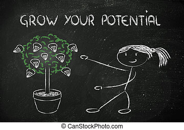 person cultivating potential, talent, ideas - girl and tree...