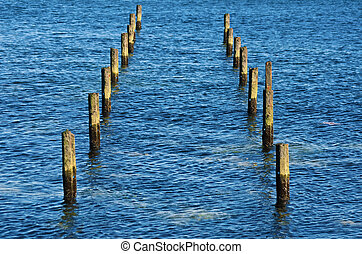 Poles - Two Rows Of The Poles In The Sea