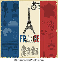 France travel grunge seamless pattern with national french...