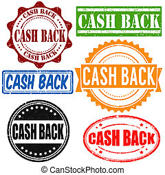 Cash back stamps - Cash back vintage grunge rubber stamps...