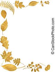 goldenes, blatt, umrandungen