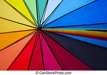 Gay rights - colorful shot of the inside of an umbrella in...
