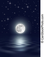 Star and Moon Beauty - Fantasy abstract of a full moon on...