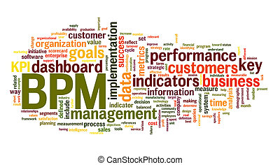 BPM business performance management in word tag cloud on...