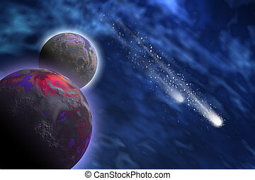 COSMIC STARLETS - Two bright comets shoot past a planet and...