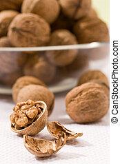 walnut - food serias: walnut with cracker on the white