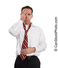 Sick Employee - A young employee suffering from a stomach...