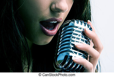 sexy retro microphone - pop female singer with the retro...