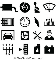 Car repair and mechanic icons - Car repair shop and mechanic...