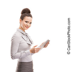 Business woman - Beautiful business woman with digital...