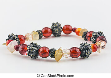 Colorful Bead Bracelet - Bracelet of red, orange, metallic,...