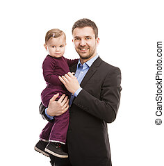 Man with his baby - Father as manager with his baby isolated...