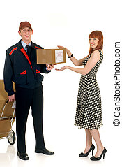 Postal service delivery - Attractive red haired retro style...