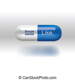 Social media addiction concept, pill isolated - Social media...