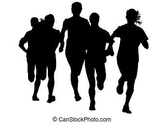 Run sports woman - Woman athletes on running race on white...