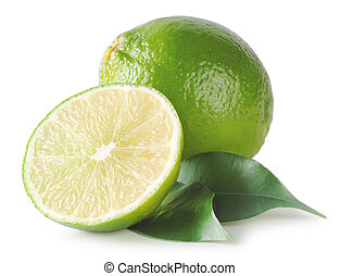 Sour green lime isolated on white background