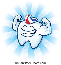Tooth Mascot Muscle Man Cartoon - A powerful muscle man...