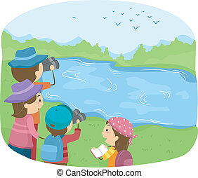 Bird Watching - Illustration of a Group of Kids Watching...