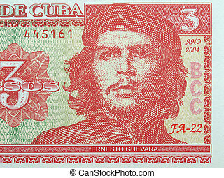 Cuba Pesos - Detail of Che Guevara on a Vintage 3 Pesos...
